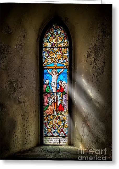 Stained Glass Greeting Cards - Ancient Glass Greeting Card by Adrian Evans