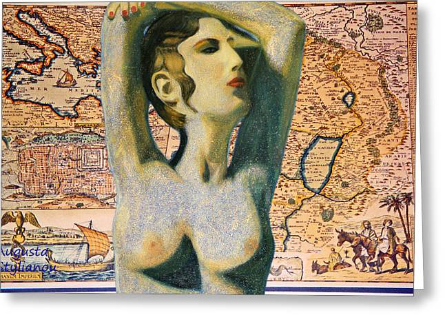 Posters Of Women Greeting Cards - Ancient Middle East Map and Aphrodite Greeting Card by Augusta Stylianou