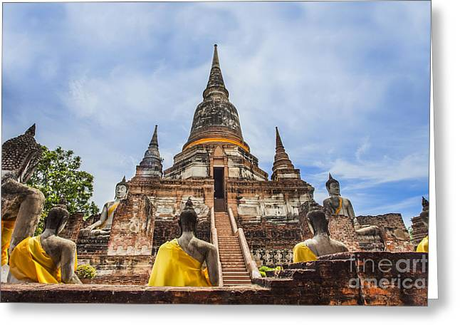 Ayuthaya Greeting Cards - Ancient Pagoda in Ayuthaya historical park Greeting Card by Anek Suwannaphoom