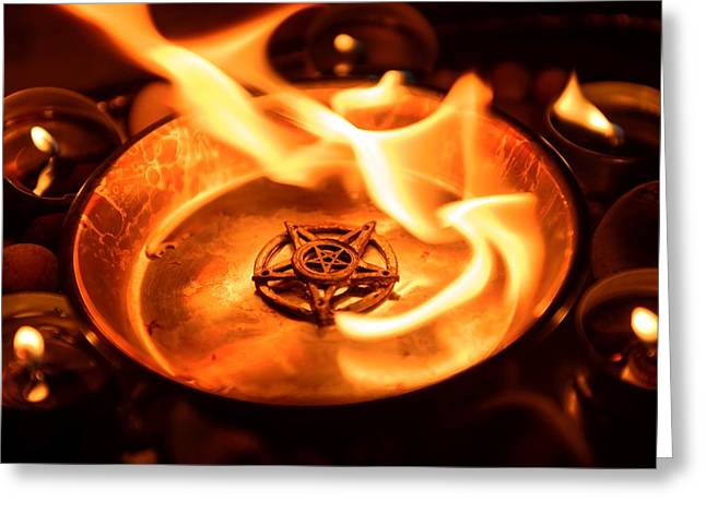 Neo Pyrography Greeting Cards - Ancient pentagram burning Greeting Card by Oliver Sved