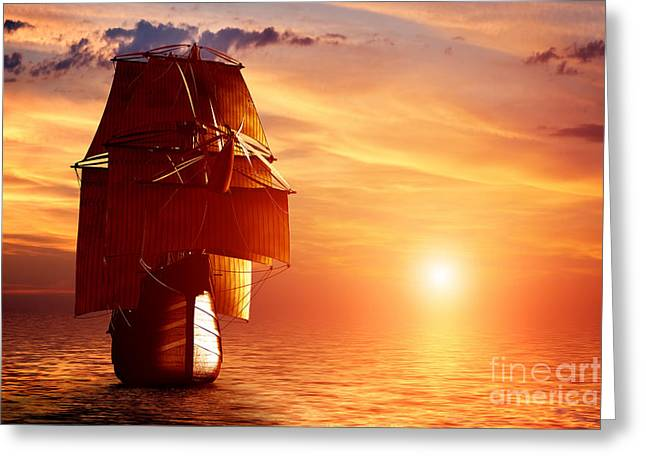 Pirate Ship Greeting Cards - Ancient pirate ship sailing on the ocean at sunset Greeting Card by Michal Bednarek