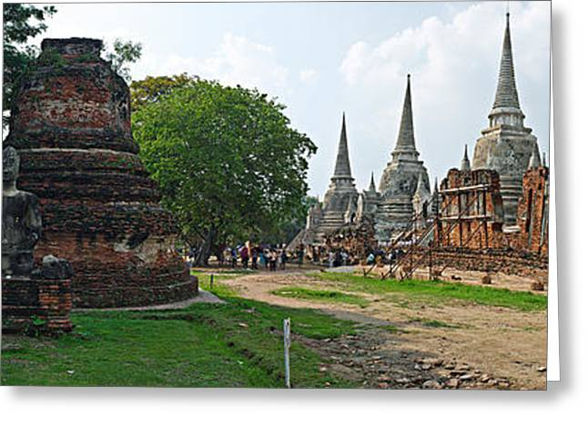 Civilization Greeting Cards - Ancient Ruins Of A Temple, Wat Phra Si Greeting Card by Panoramic Images