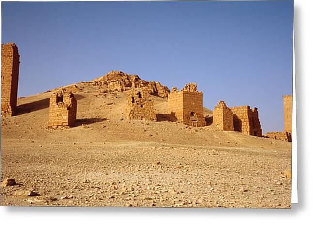 Arid Country Greeting Cards - Ancient Tombs On A Landscape, Palmyra Greeting Card by Panoramic Images
