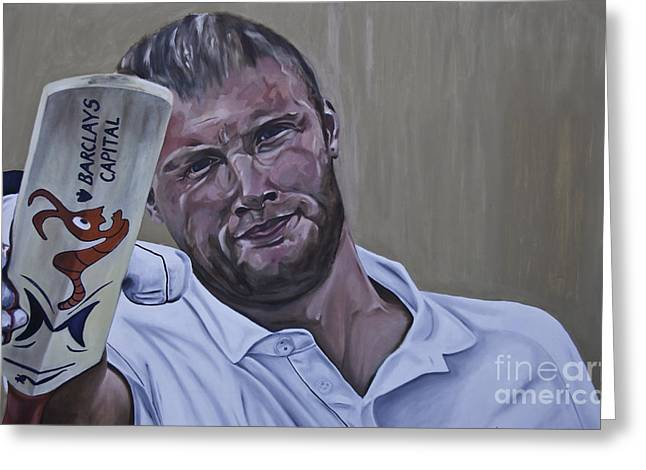 Cricket Paintings Greeting Cards - Andrew Flintoff Greeting Card by James Lavott