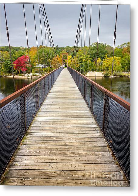 Androscoggin Greeting Cards - Androscoggin Swinging Bridge Greeting Card by Benjamin Williamson