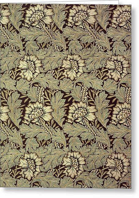 Black Tapestries - Textiles Greeting Cards - Anemone design Greeting Card by William Morris