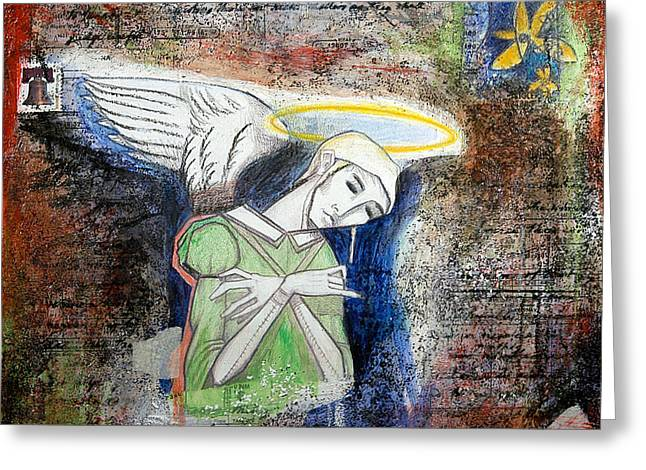 Surreal Fantasy Gothic Church Greeting Cards - Angel and Man Greeting Card by Chris Bradley