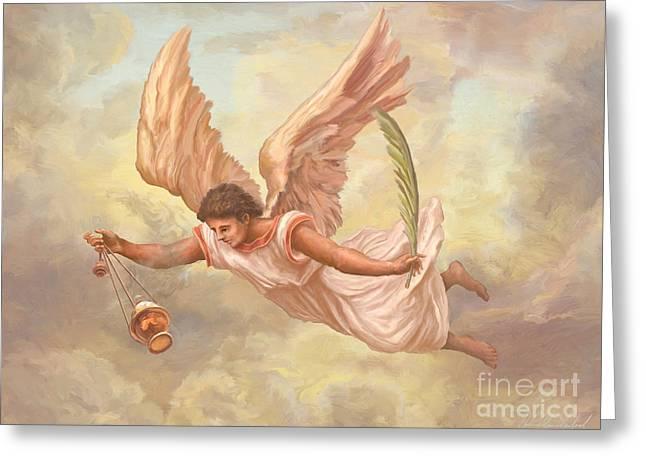 Guardian Angel Greeting Cards - Angel Blessing Greeting Card by John Alan  Warford