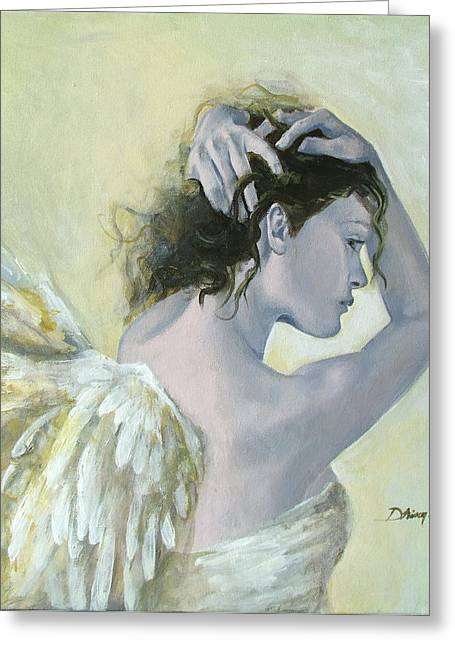 Tenderness Greeting Cards - Angel    Greeting Card by Dorina  Costras