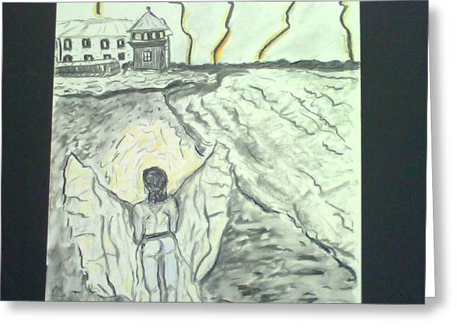 Alcatraz Mixed Media Greeting Cards - Angel in a Storm Greeting Card by Suzanne Berthier