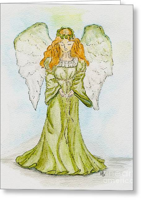 Guardian Angel Drawings Greeting Cards - Angel of the Future Greeting Card by Eva Ason