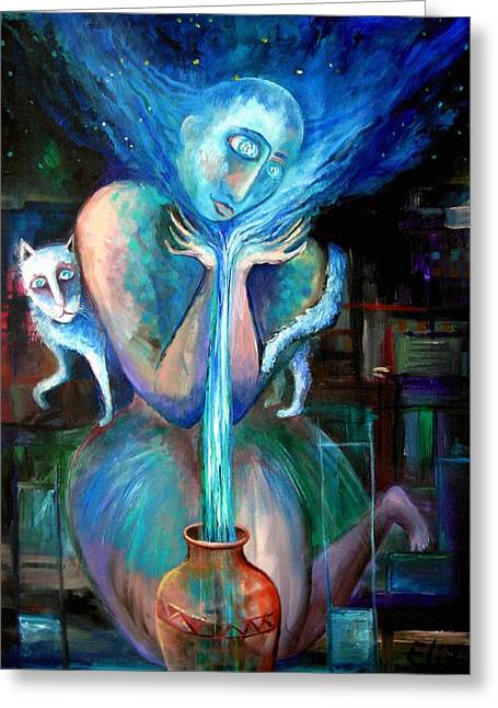 Water Jug Greeting Cards - Angels Of Zodiac. Aquarius The Water Bearer Greeting Card by Elisheva Nesis