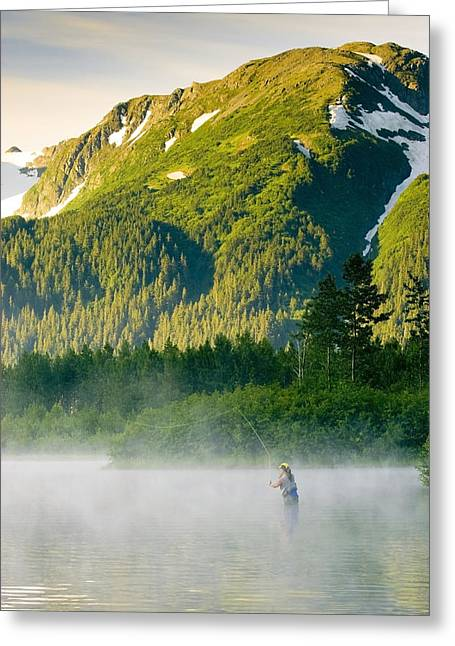 Portage Photographs Greeting Cards - Angler Flyfishing For Rainbow Trout In Greeting Card by Michael DeYoung