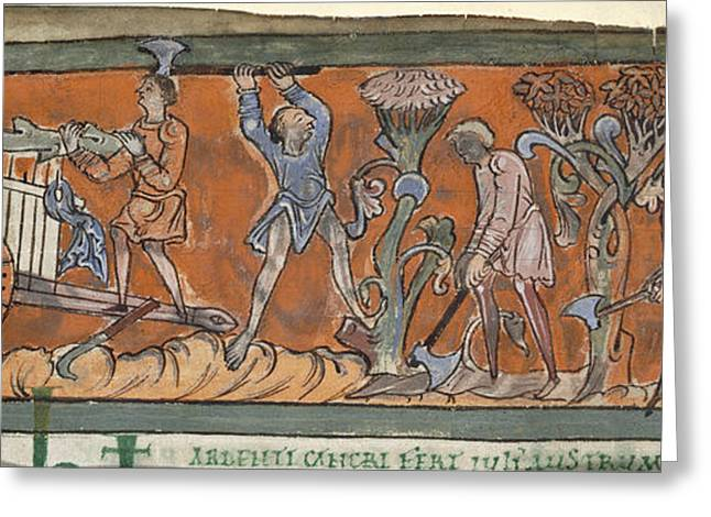 Wood Cutting Tools Greeting Cards - Anglo-saxon Calendar Greeting Card by British Library