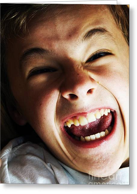 Adhd Greeting Cards - Angry boy portrait Greeting Card by Michal Bednarek