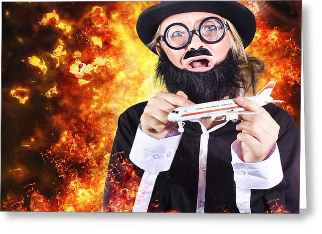 Terrorist Greeting Cards - Angry business terrorist hijacking model plane Greeting Card by Ryan Jorgensen