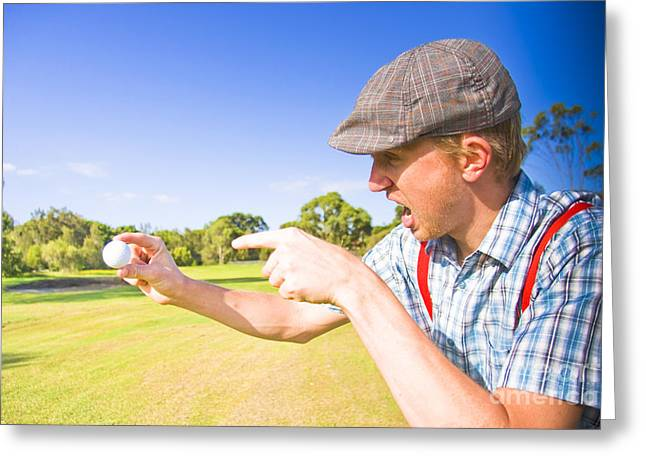 Desperate Greeting Cards - Angry Golf Greeting Card by Ryan Jorgensen