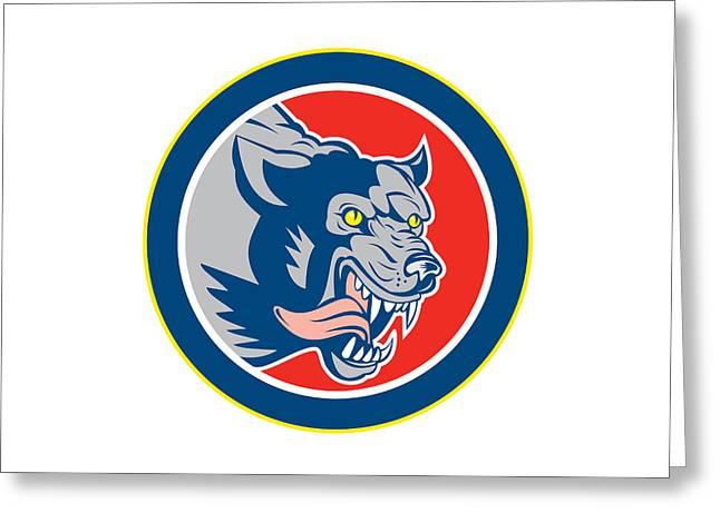 Growling Digital Greeting Cards - Angry Wolf Wild Dog Head Circle Retro Greeting Card by Aloysius Patrimonio