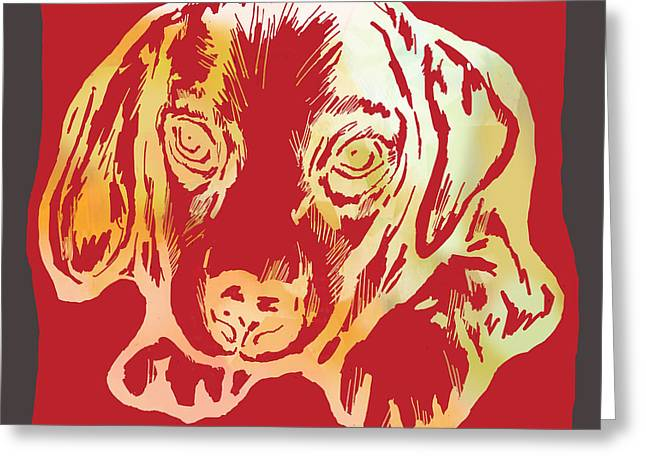 Animal Pop Art Etching Poster - Dog 2 Greeting Card by Kim Wang