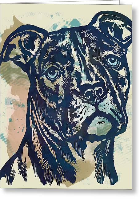 Animal Pop Art Etching Poster - Dog - 4 Greeting Card by Kim Wang
