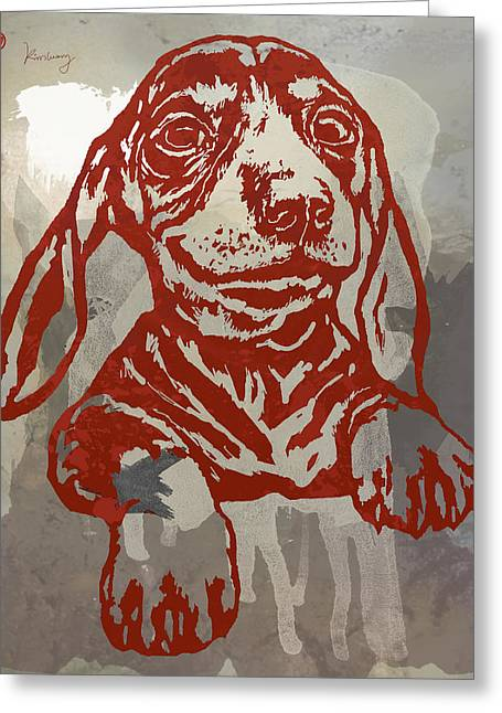 Domestic Dog Greeting Cards - Animal Pop Art Etching Poster - Dog 5 Greeting Card by Kim Wang