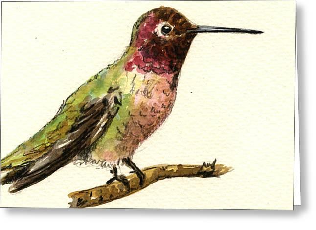 Anna S Hummingbird Greeting Card by Juan  Bosco