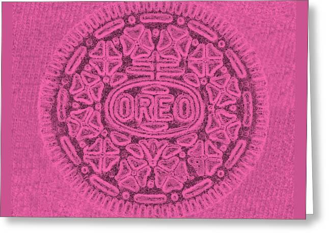 Oreo Greeting Cards - Hot Pink Oreo Greeting Card by Rob Hans