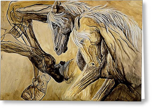 Dressage Drawings Greeting Cards - Annie Greeting Card by Jacqueline Kinsey
