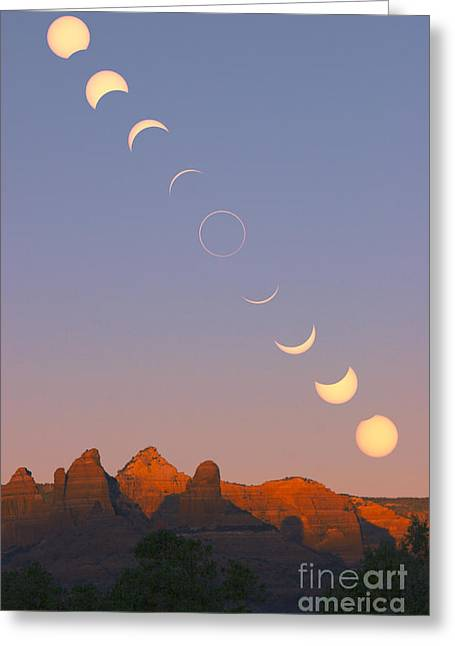March 2012 Greeting Cards - Annular Solar Eclipse Phases Greeting Card by Babak Tafreshi