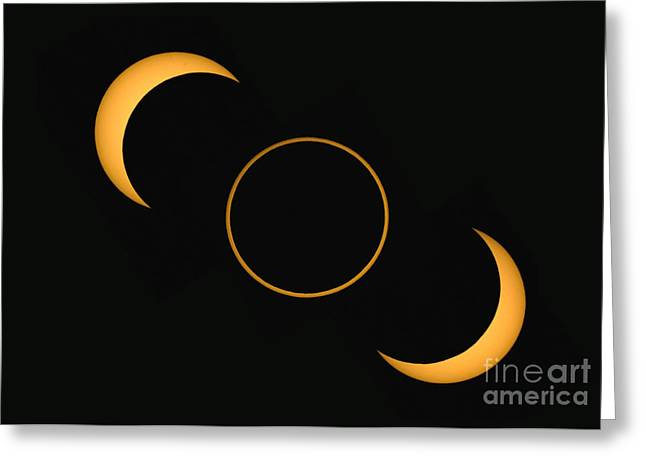 3 October Greeting Cards - Annular Solar Eclipse Phases, Spain Greeting Card by Babak Tafreshi