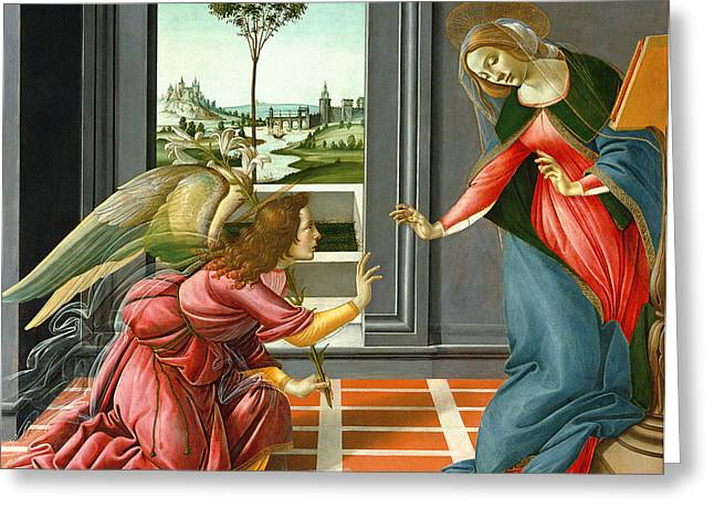 Virgin Mary Greeting Cards - Annunciation Greeting Card by Sandro Botticelli