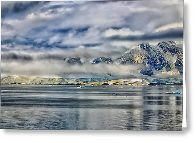 Wintry Greeting Cards - Antarctica Panorama Greeting Card by Mountain Dreams