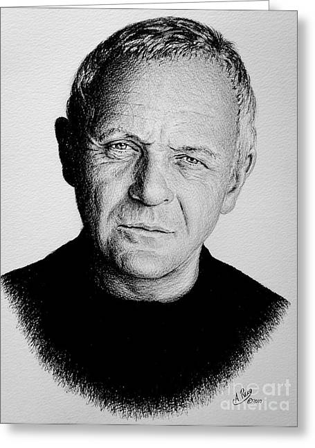 Featured Drawings Greeting Cards - Anthony Hopkins Greeting Card by Andrew Read
