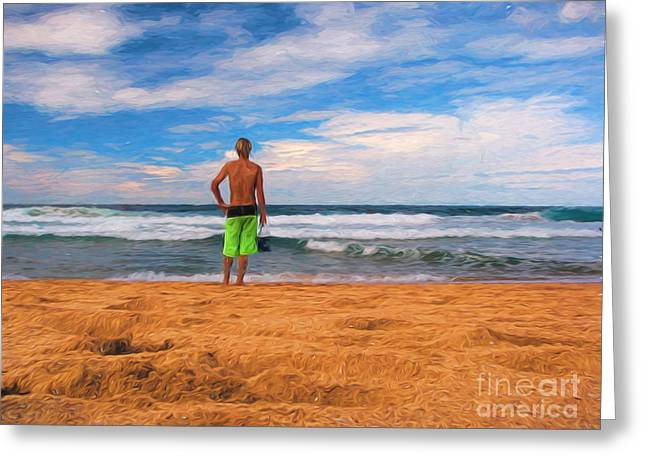 Sand Man Greeting Cards - Anticipation Greeting Card by Sheila Smart