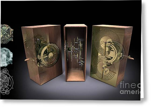 Mechanism Greeting Cards - Antikythera Mechanism, Artwork Greeting Card by Jose Antonio Pe??as