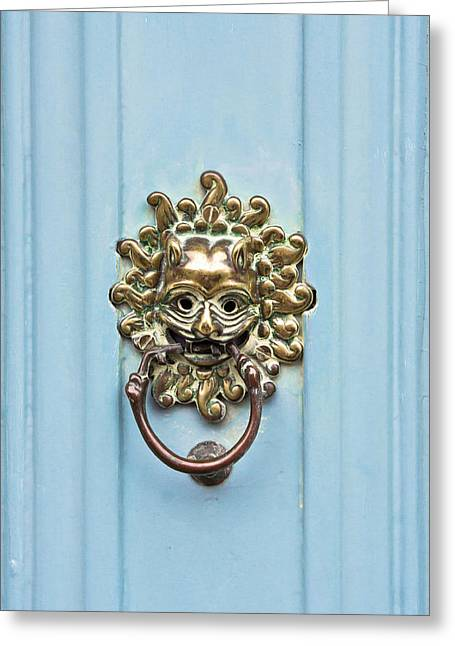 French Doors Greeting Cards - Antique door knocker Greeting Card by Tom Gowanlock