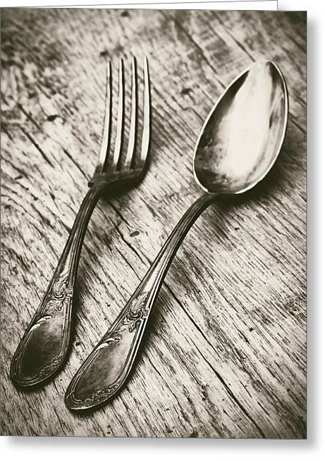 Cutlery Greeting Cards - Fork and Spoon Greeting Card by Wim Lanclus