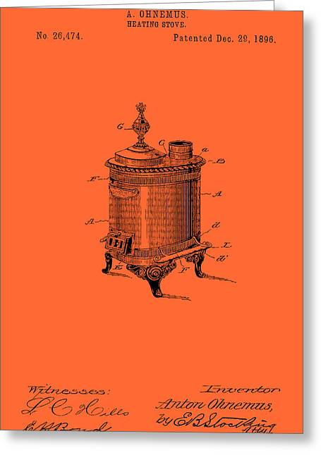 Heat Drawings Greeting Cards - Antique Heating Stove Patent 1896 Greeting Card by Mountain Dreams