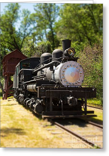 Tilted Greeting Cards - Antique Locomotive Greeting Card by Jane Rix