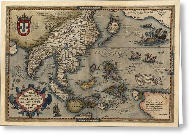 Asia Drawings Greeting Cards - Antique Map of Asia and the Pacific Islands by Abraham Ortelius - 1570 Greeting Card by Blue Monocle