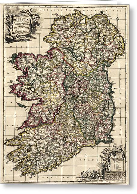 Map Of Ireland Greeting Cards - Antique Map of Ireland by Frederik de Wit - circa 1700 Greeting Card by Blue Monocle