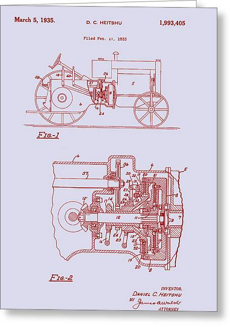 Antique Massey-ferguson Tractor Patent 1935 Greeting Card by Mountain Dreams