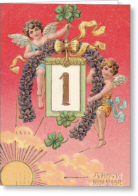 New Year Greeting Cards - Antique new year postcard Greeting Card by Patricia Hofmeester