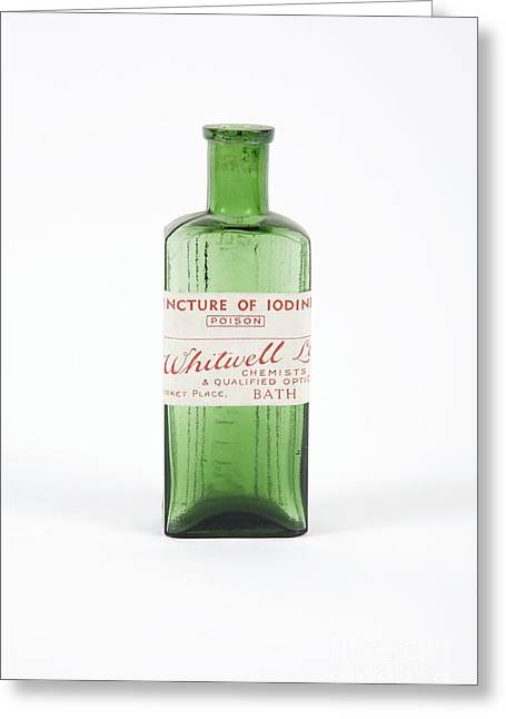 Glass Bottle Greeting Cards - Antique Pharmacy Bottle Greeting Card by Gregory Davies / Medinet Photographics