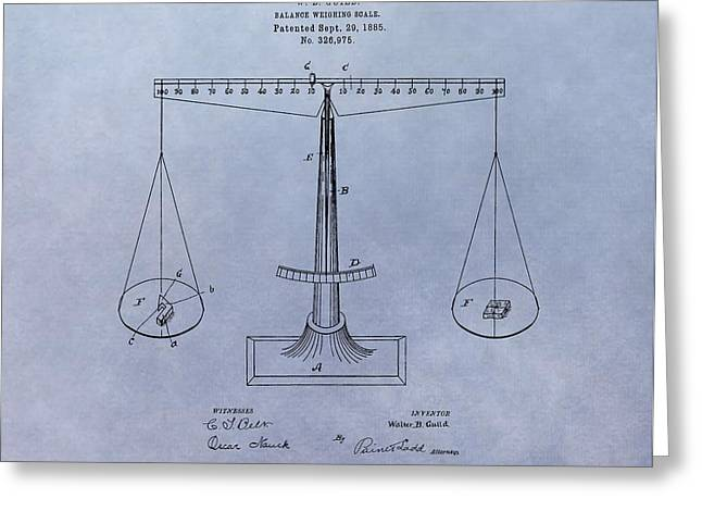 Scale Scales Greeting Cards - Antique Scale Patent Greeting Card by Dan Sproul