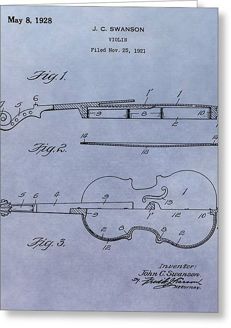 Violin Bows Violin Bows Greeting Cards - Antique Violin Patent Greeting Card by Dan Sproul