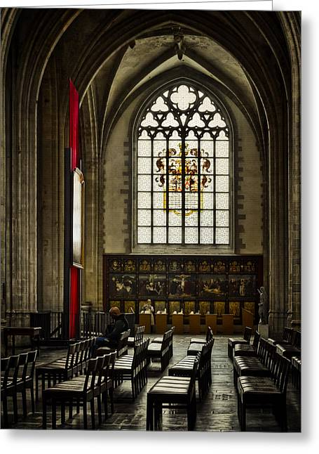 Medieval Temple Greeting Cards - Antwerp Cathedral Greeting Card by Joan Carroll