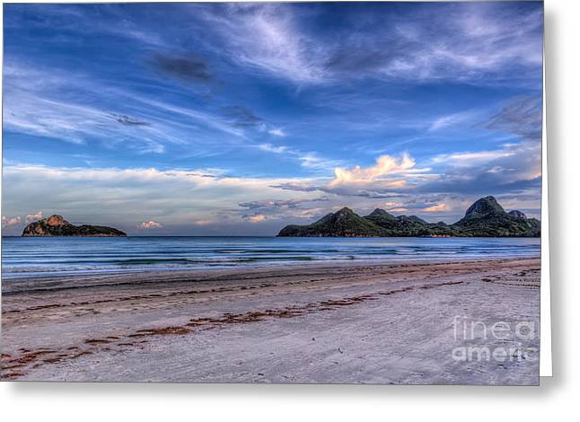 Sky Sea Greeting Cards - Ao Manao Bay Greeting Card by Adrian Evans