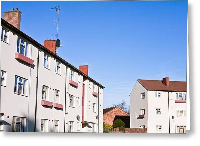 Apartments Greeting Cards - Apartment block Greeting Card by Tom Gowanlock
