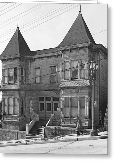 Walking Down The Street Greeting Cards - Apartment house on Second Street.  Greeting Card by Arnold Hylen Image Archives